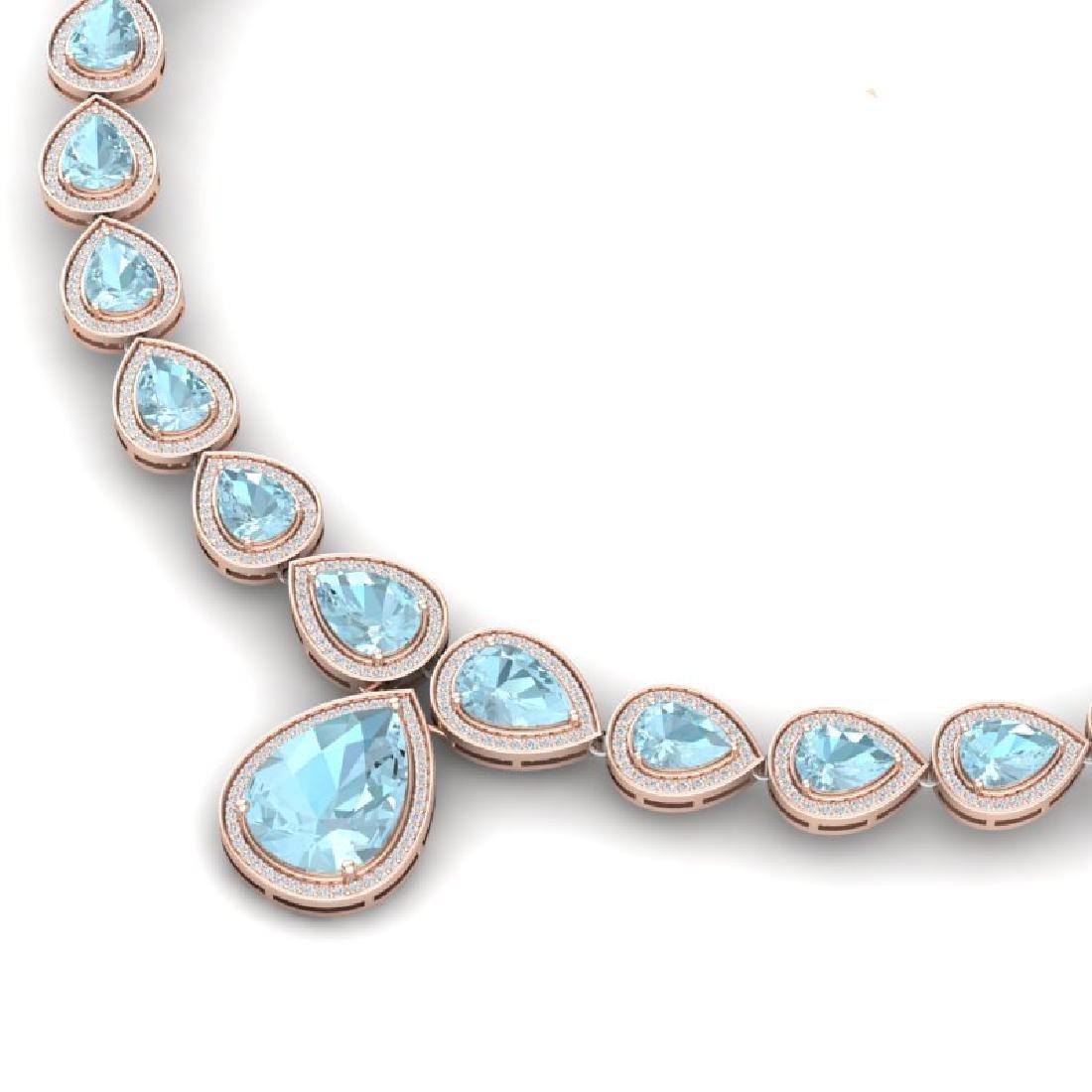 54 CTW Royalty Sky Topaz & VS Diamond Necklace 18K Rose - 2
