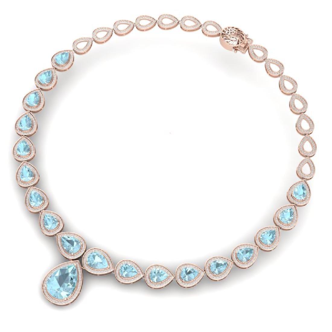 54 CTW Royalty Sky Topaz & VS Diamond Necklace 18K Rose - 3