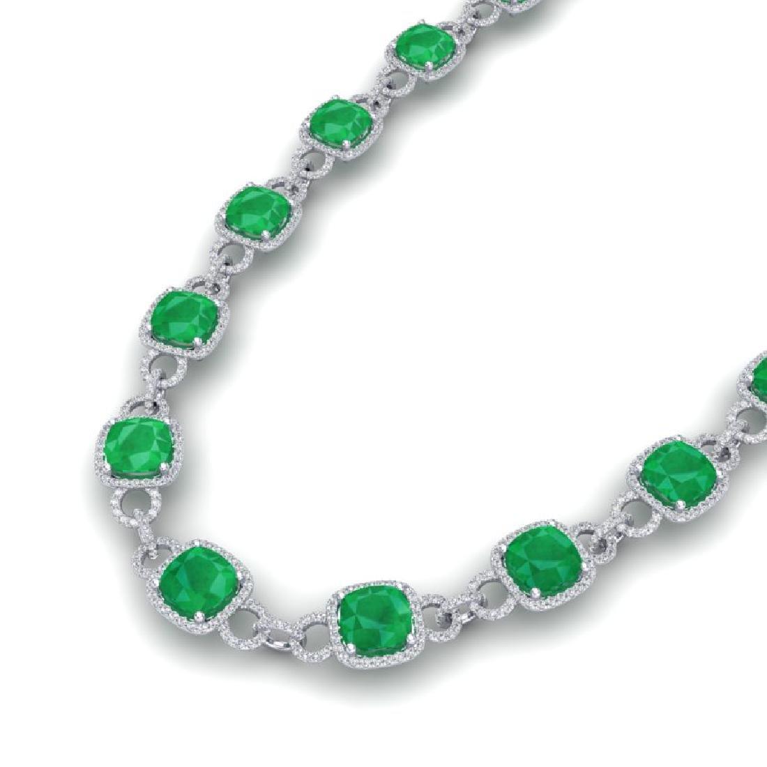 56 CTW Emerald & VS/SI Diamond Necklace 14K White Gold
