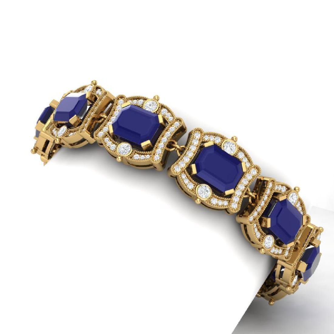 43.87 CTW Royalty Sapphire & VS Diamond Bracelet 18K - 2