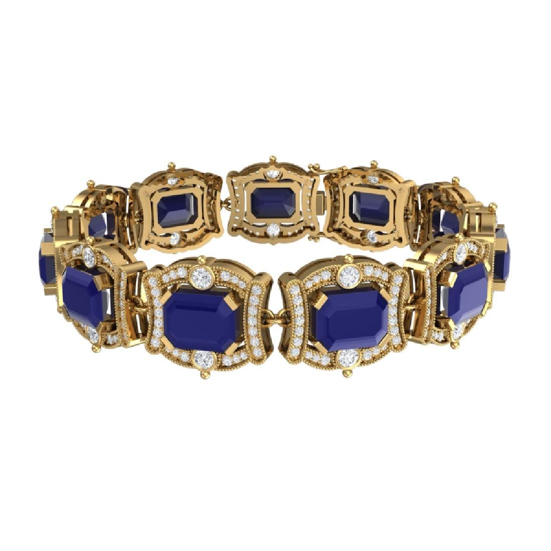43.87 CTW Royalty Sapphire & VS Diamond Bracelet 18K - 3