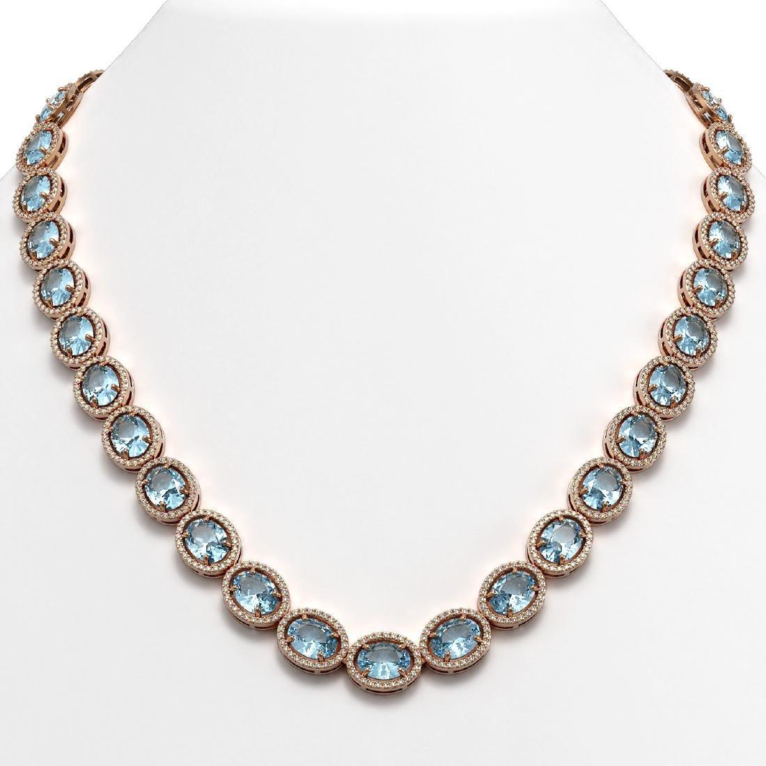 54.11 CTW Aquamarine & Diamond Halo Necklace 10K Rose