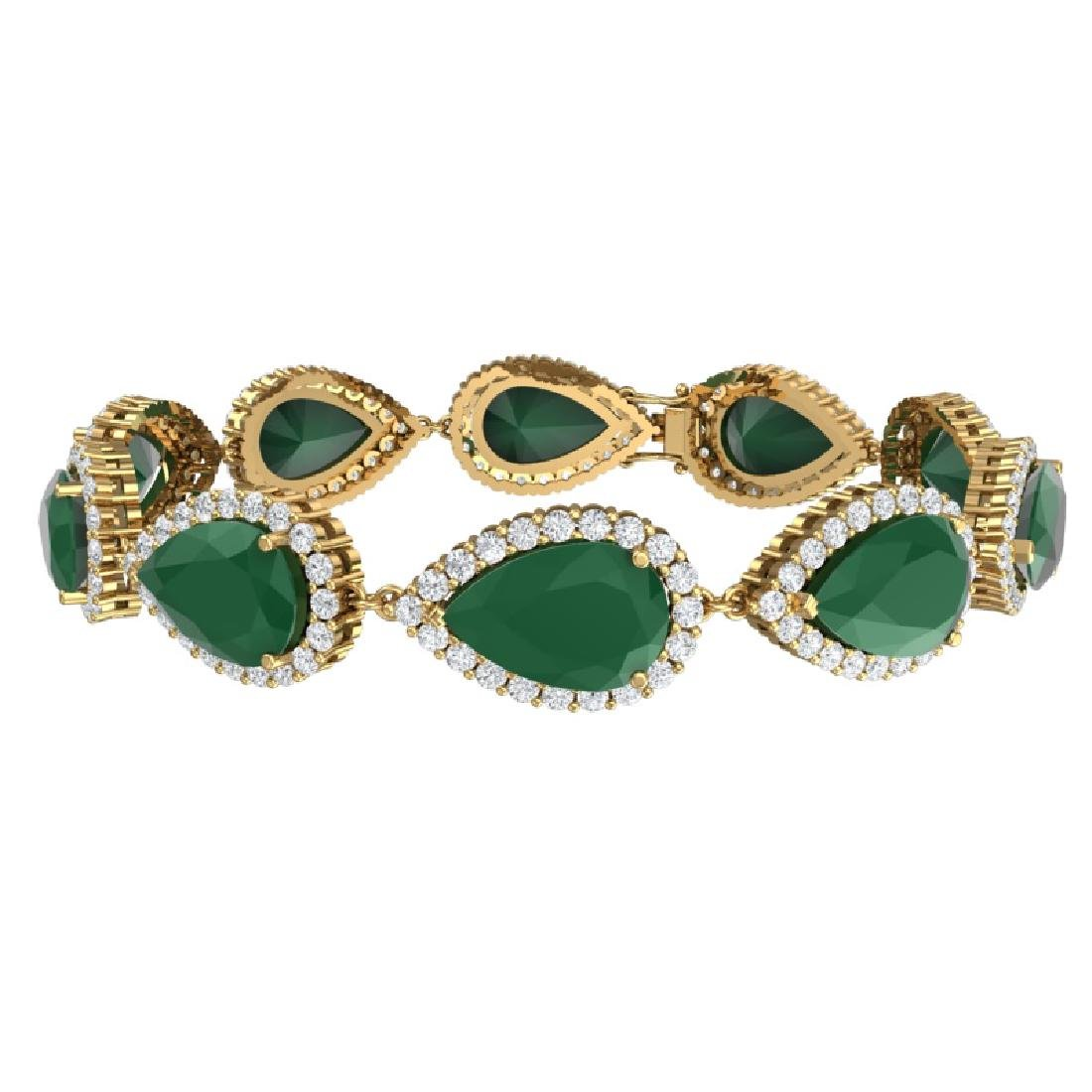 42 CTW Royalty Emerald & VS Diamond Bracelet 18K Yellow - 3