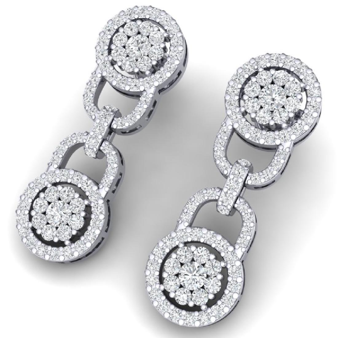 2.30 CTW Certified SI/I Diamond Halo Earrings 18K White