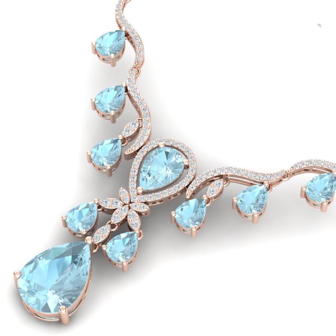 38.14 CTW Royalty Sky Topaz & VS Diamond Necklace 18K - 2