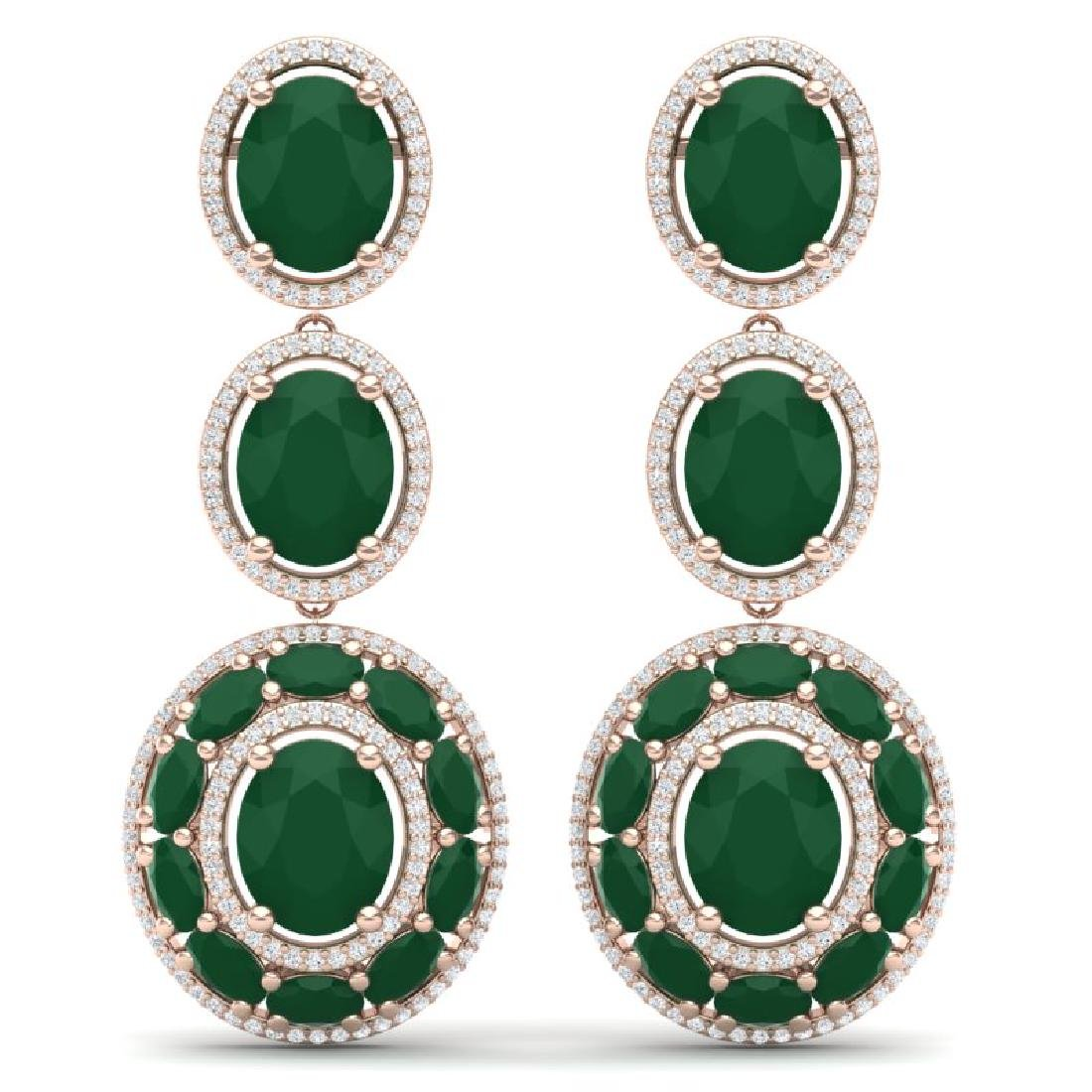 32.84 CTW Royalty Emerald & VS Diamond Earrings 18K