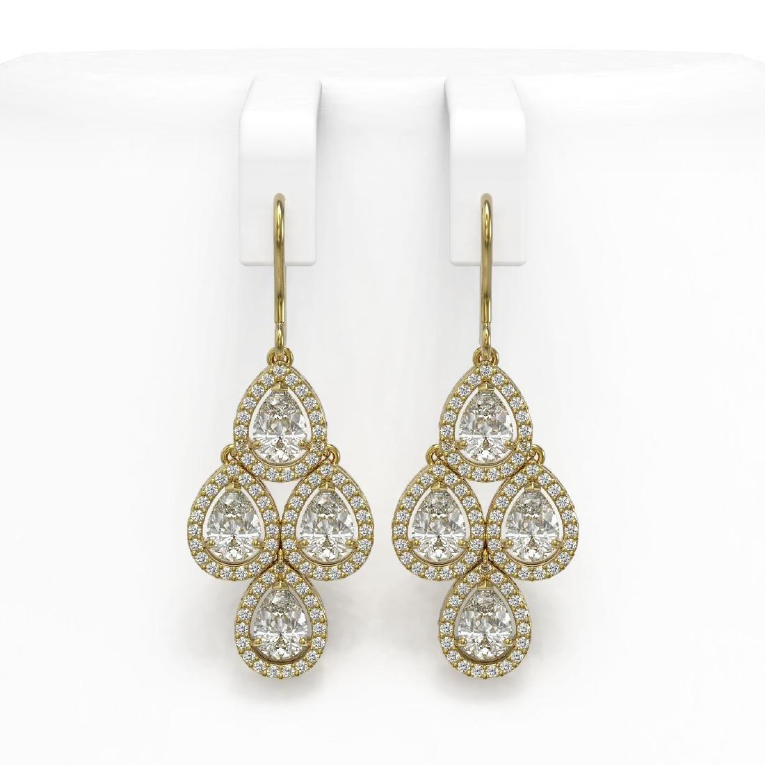 5.85 CTW Pear Diamond Designer Earrings 18K Yellow Gold
