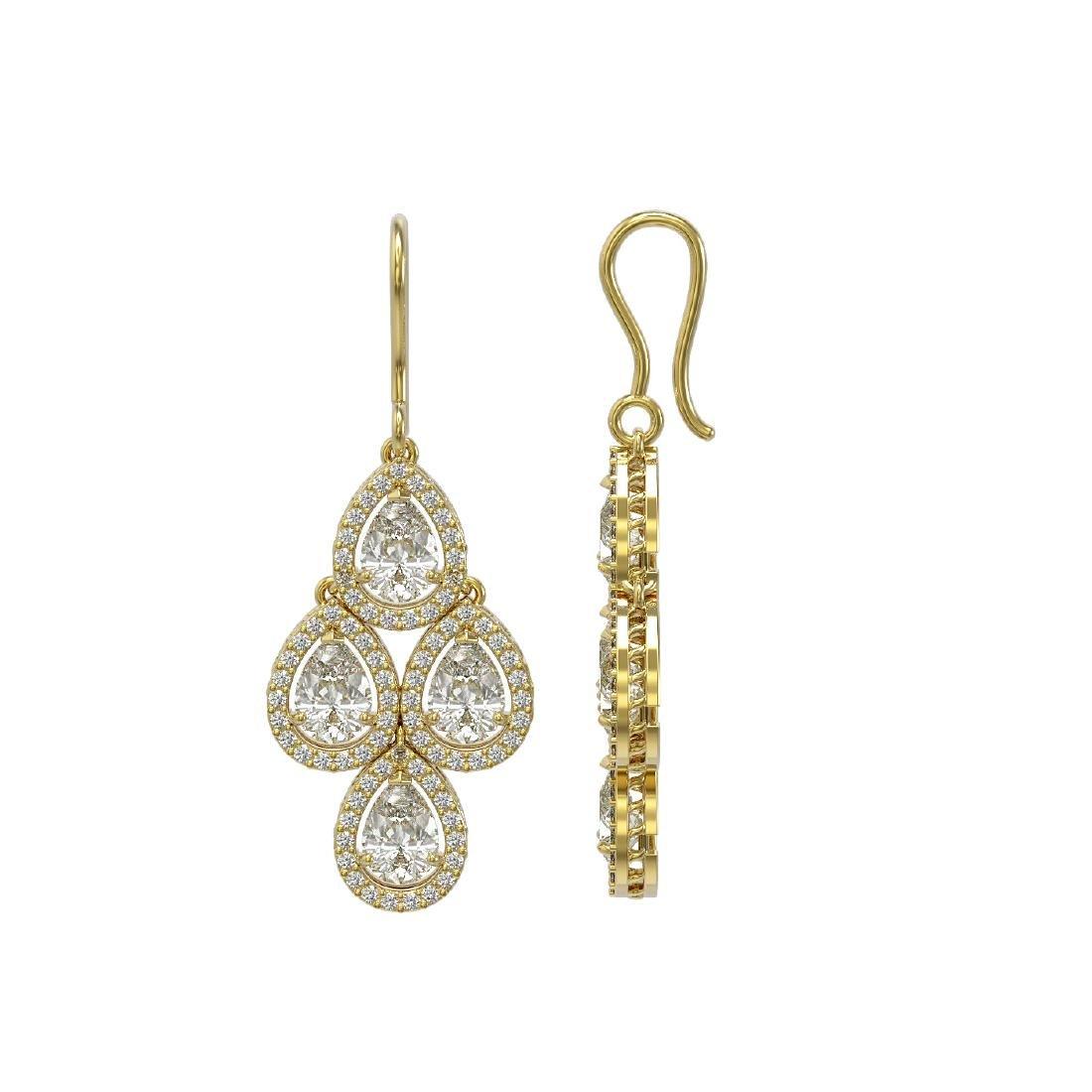 5.85 CTW Pear Diamond Designer Earrings 18K Yellow Gold - 2