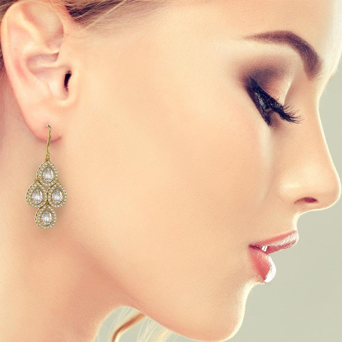 5.85 CTW Pear Diamond Designer Earrings 18K Yellow Gold - 3
