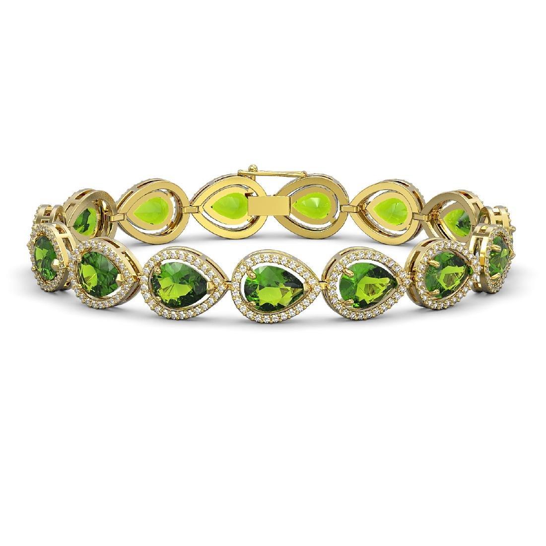 15.8 CTW Peridot & Diamond Halo Bracelet 10K Yellow