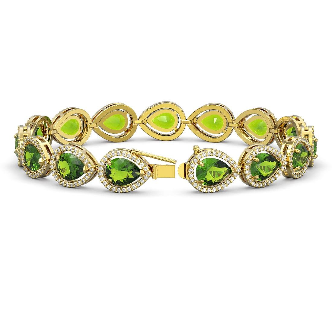 15.8 CTW Peridot & Diamond Halo Bracelet 10K Yellow - 2