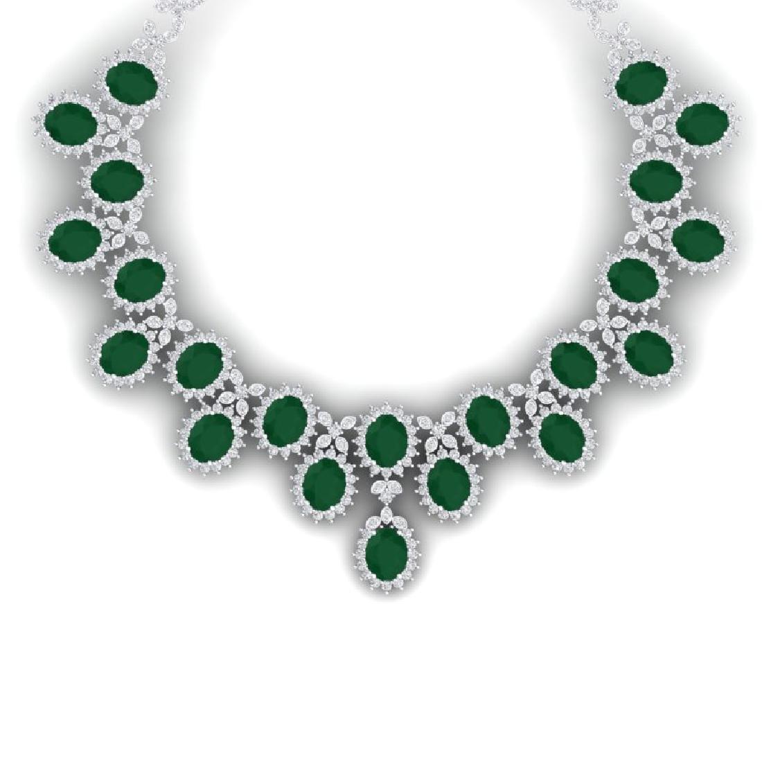81 CTW Royalty Emerald & VS Diamond Necklace 18K White