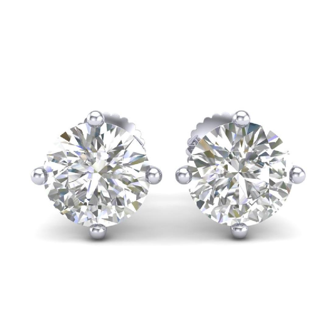 3.01 CTW VS/SI Diamond Solitaire Art Deco Stud Earrings - 2