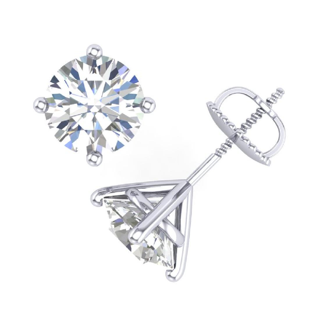3.01 CTW VS/SI Diamond Solitaire Art Deco Stud Earrings - 3