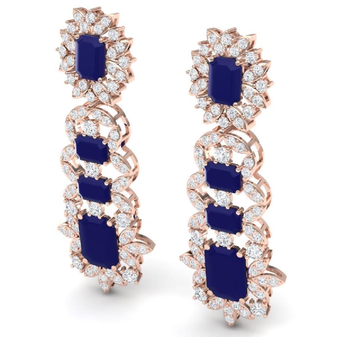 30.25 CTW Royalty Sapphire & VS Diamond Earrings 18K - 2