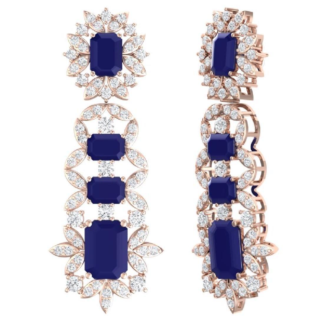 30.25 CTW Royalty Sapphire & VS Diamond Earrings 18K - 3