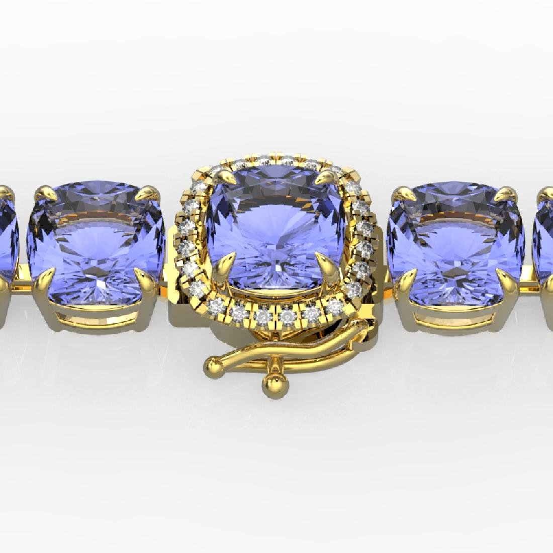40 CTW Tanzanite & VS/SI Diamond Bracelet 14K Yellow