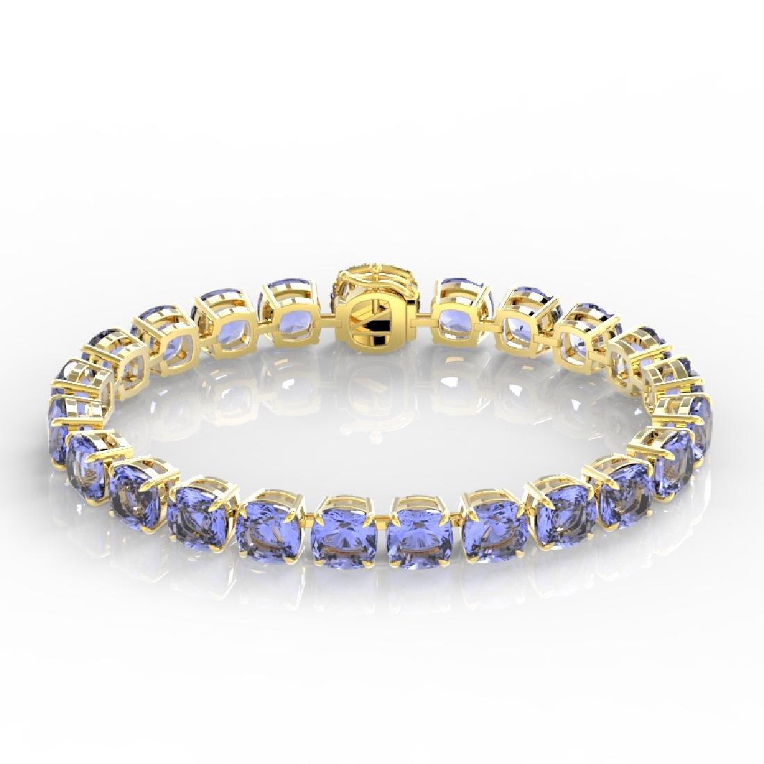 40 CTW Tanzanite & VS/SI Diamond Bracelet 14K Yellow - 2