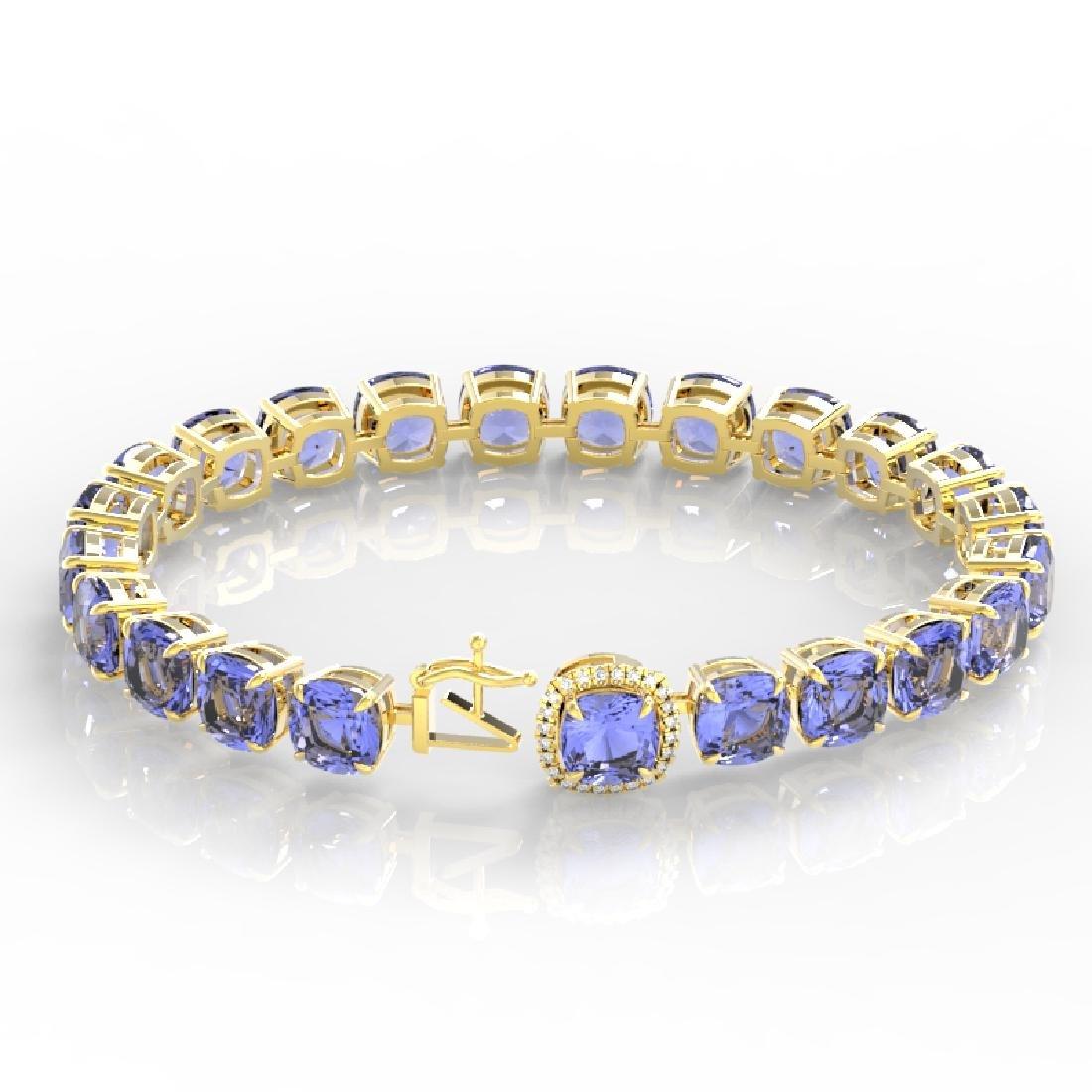 40 CTW Tanzanite & VS/SI Diamond Bracelet 14K Yellow - 3