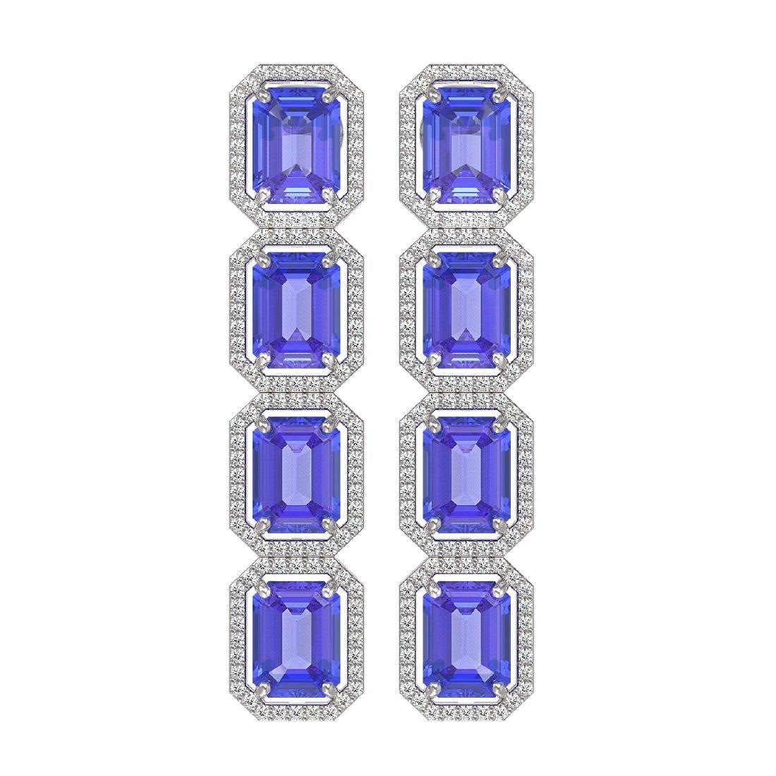 19.39 CTW Tanzanite & Diamond Halo Earrings 10K White