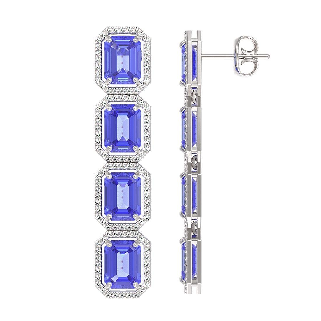 19.39 CTW Tanzanite & Diamond Halo Earrings 10K White - 2
