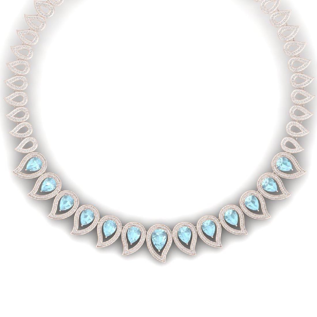 34.96 CTW Royalty Sky Topaz & VS Diamond Necklace 18K