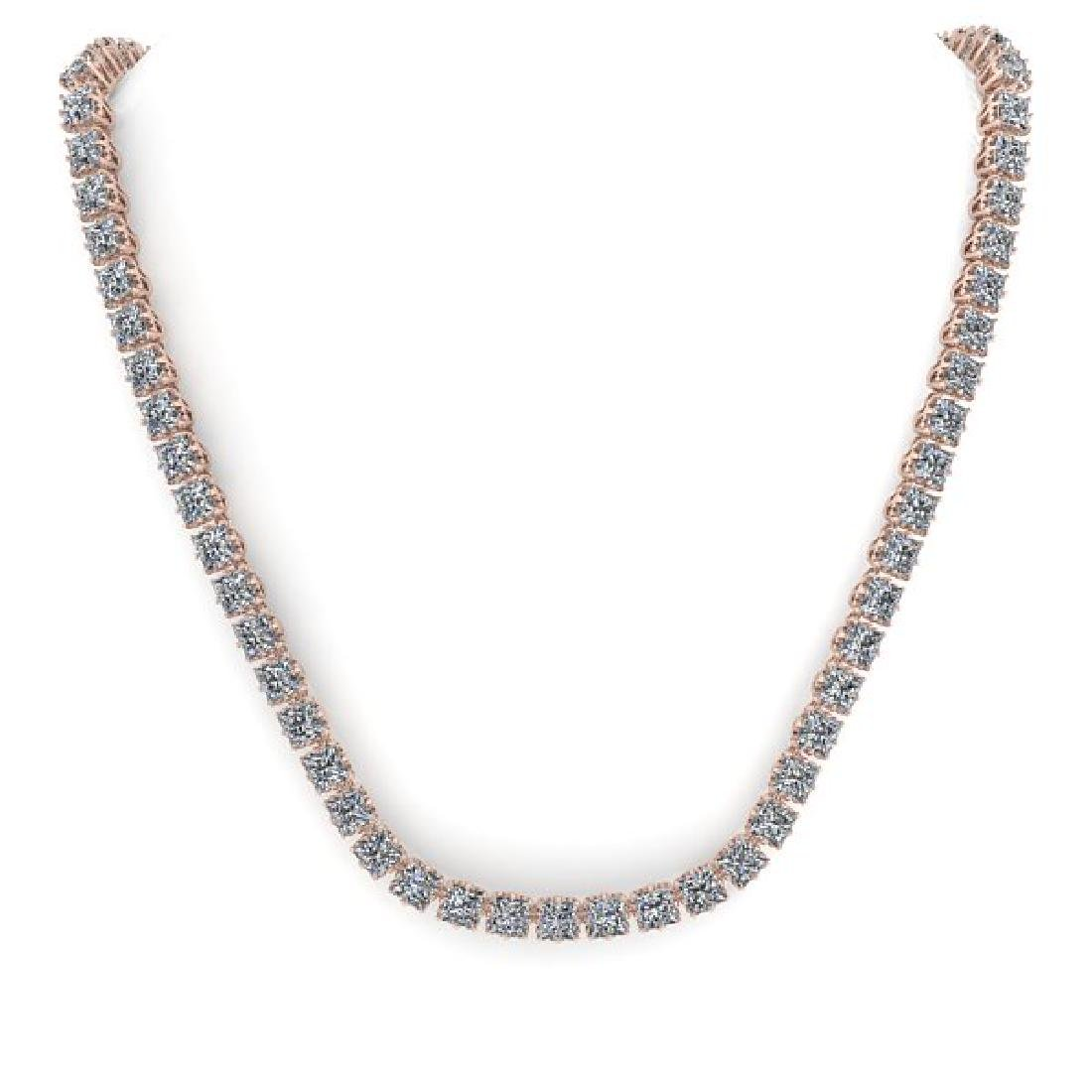 34 CTW Cushion Cut SI Certified Diamond Necklace 14K - 3