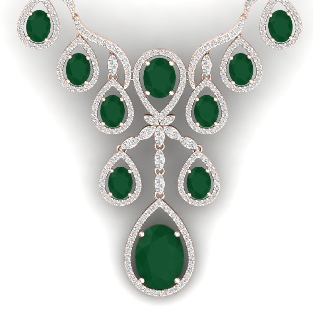 37.66 CTW Royalty Emerald & VS Diamond Necklace 18K