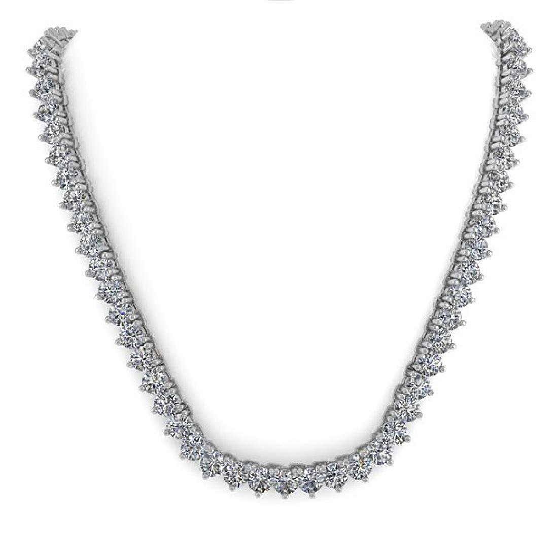 20 CTW Solitaire VS/SI Diamond Necklace 18K White Gold - 3