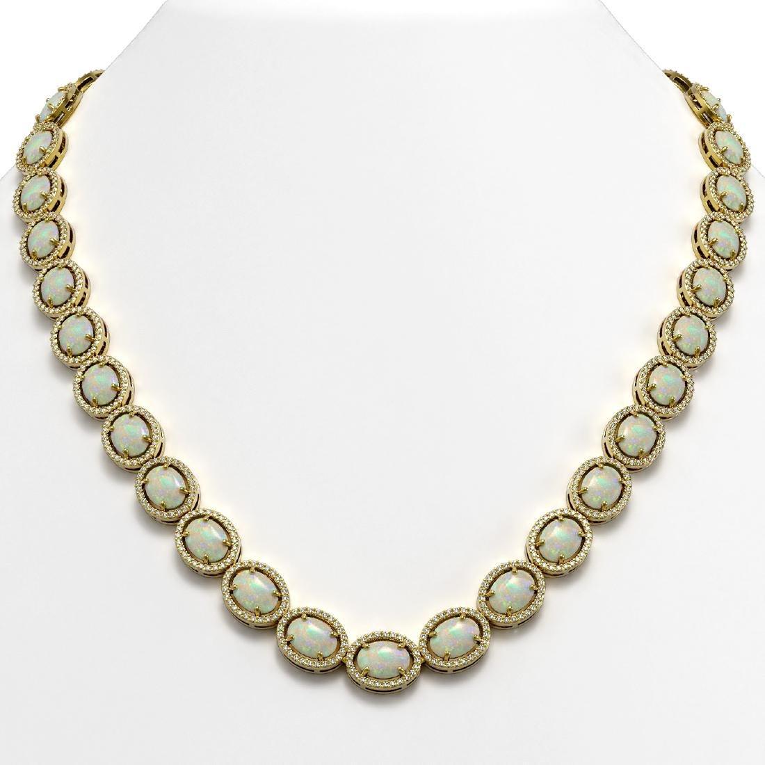 42.29 CTW Opal & Diamond Halo Necklace 10K Yellow Gold