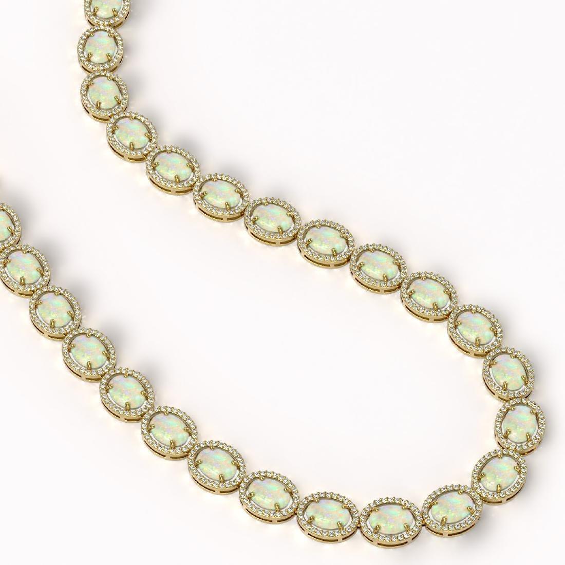 42.29 CTW Opal & Diamond Halo Necklace 10K Yellow Gold - 2
