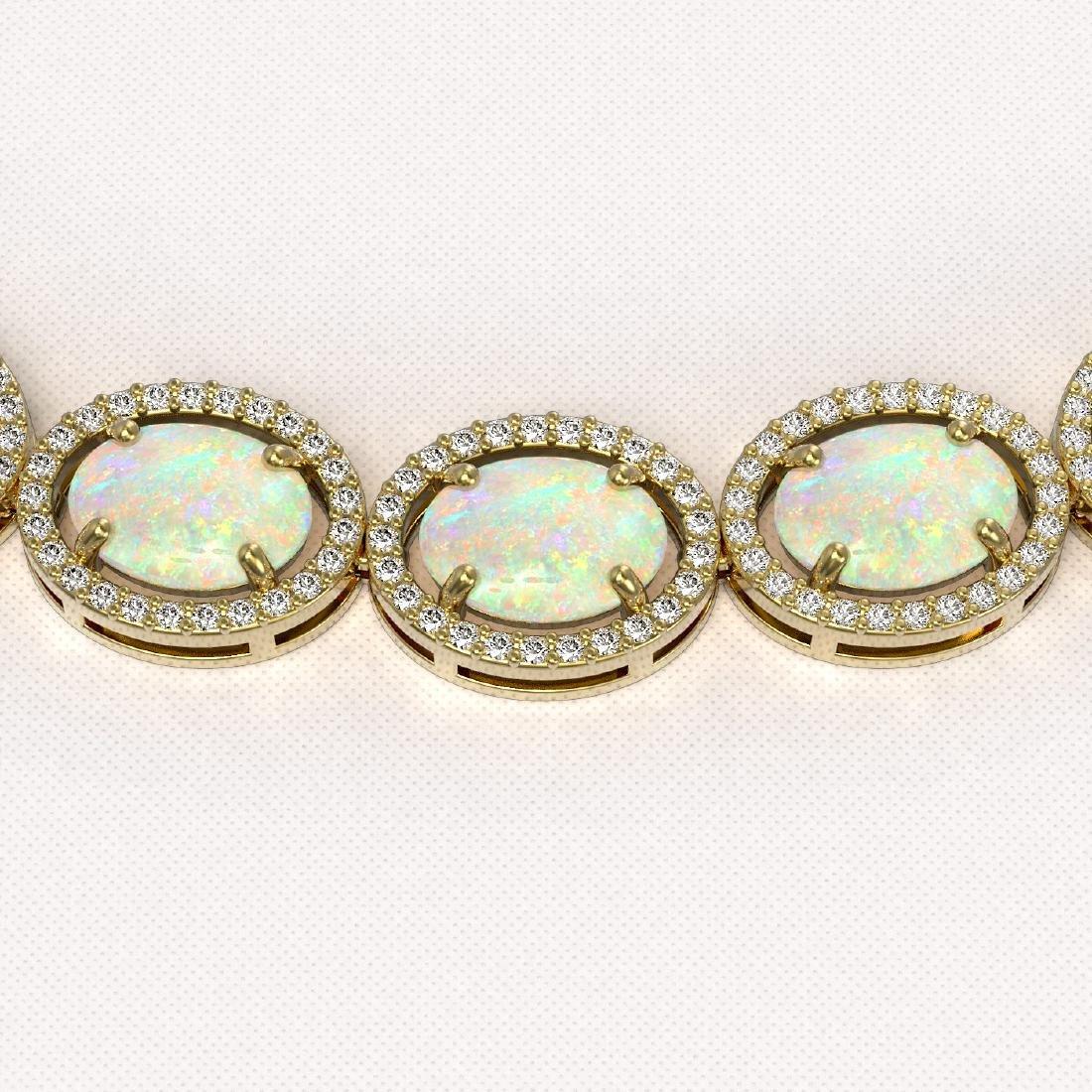 42.29 CTW Opal & Diamond Halo Necklace 10K Yellow Gold - 3
