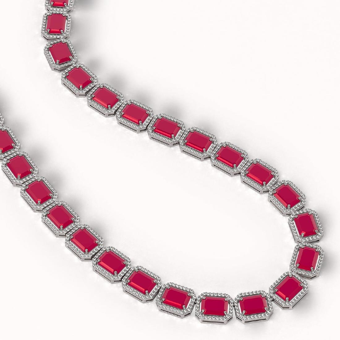 84.94 CTW Ruby & Diamond Halo Necklace 10K White Gold - 2