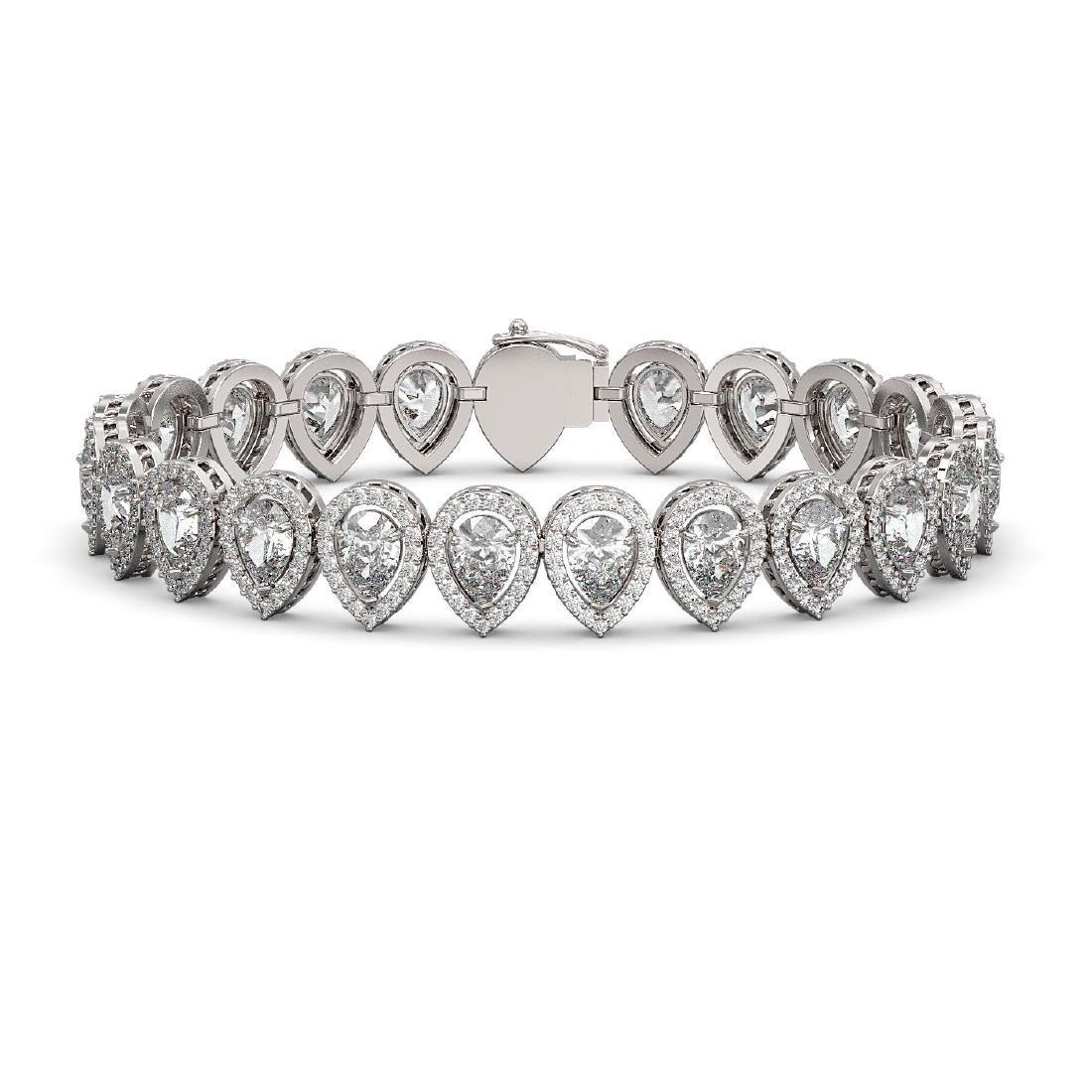 18.55 CTW Pear Diamond Designer Bracelet 18K White Gold