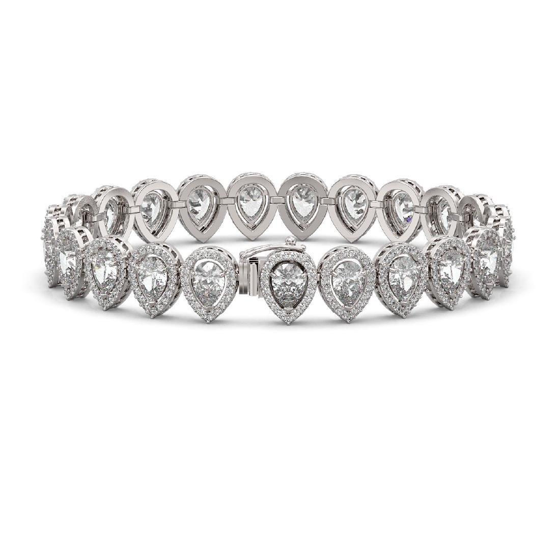 18.55 CTW Pear Diamond Designer Bracelet 18K White Gold - 2