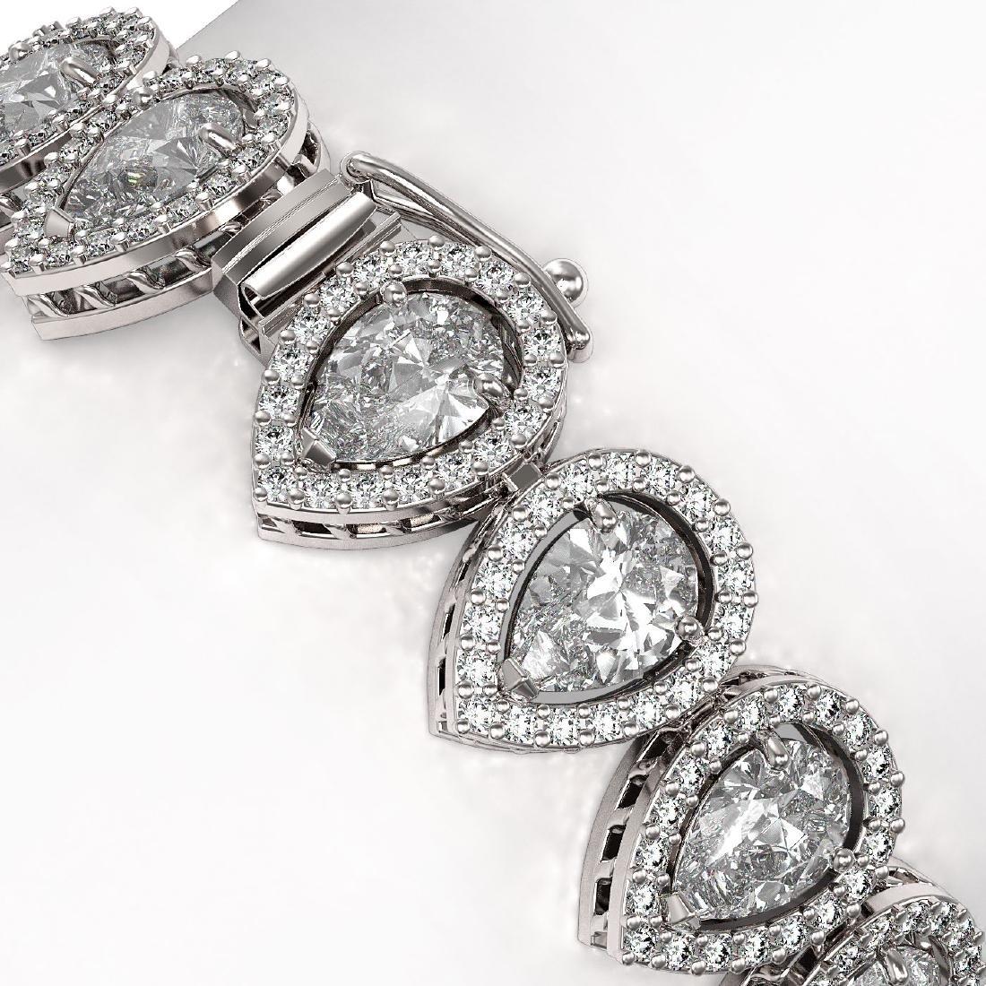 18.55 CTW Pear Diamond Designer Bracelet 18K White Gold - 3