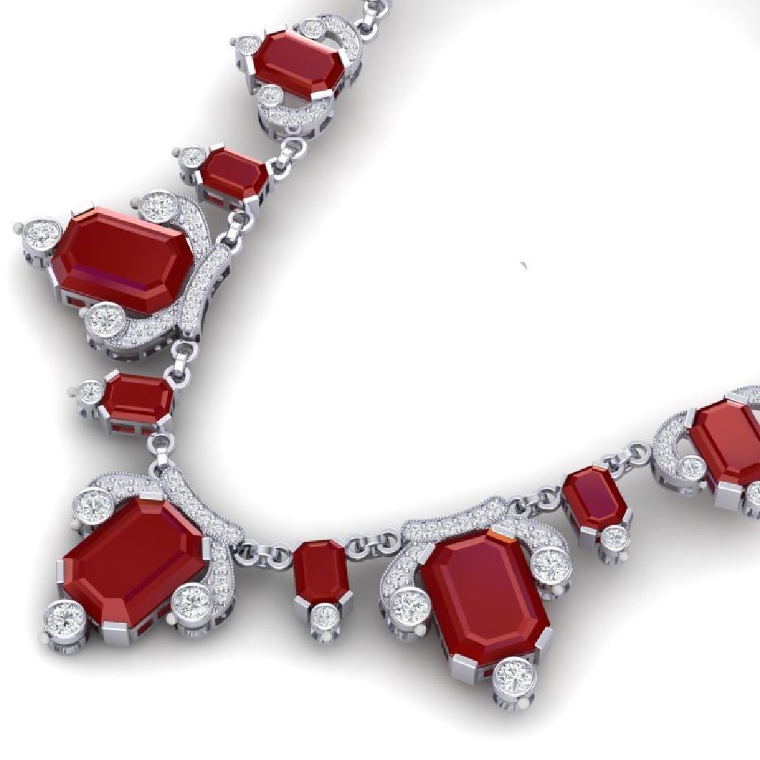 75.21 CTW Royalty Ruby & VS Diamond Necklace 18K White - 2