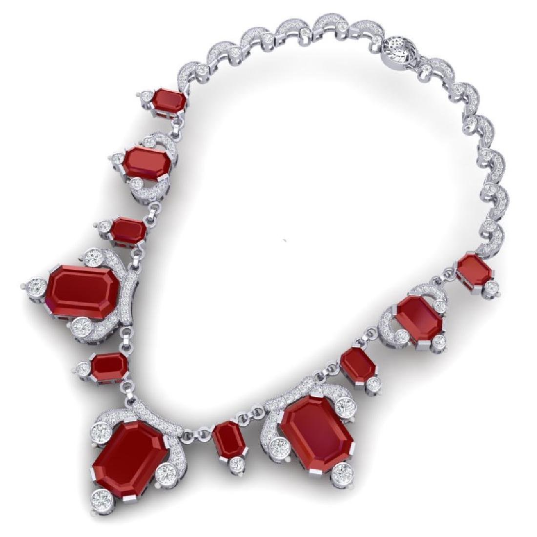 75.21 CTW Royalty Ruby & VS Diamond Necklace 18K White - 3