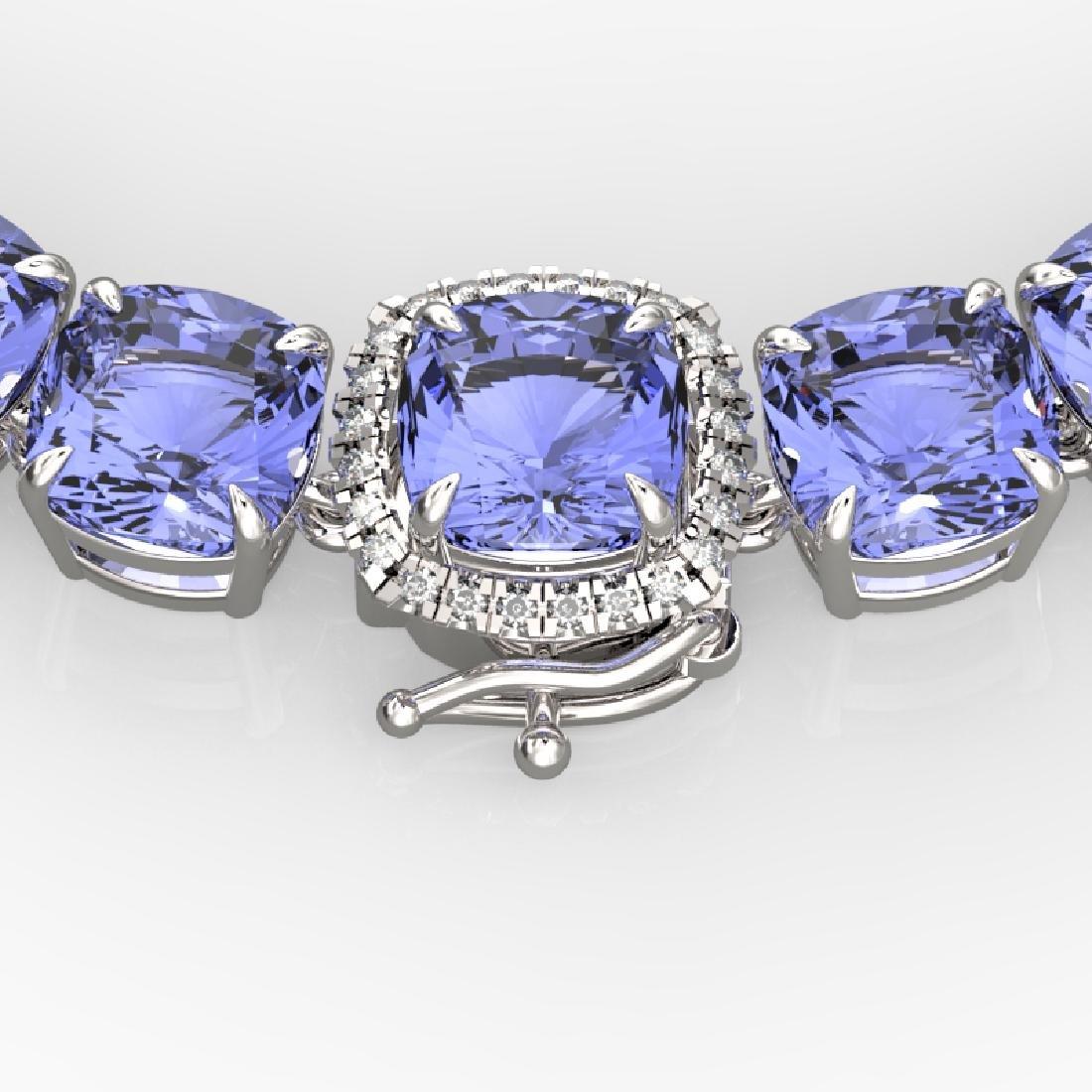 100 CTW Tanzanite & VS/SI Diamond Necklace 14K White