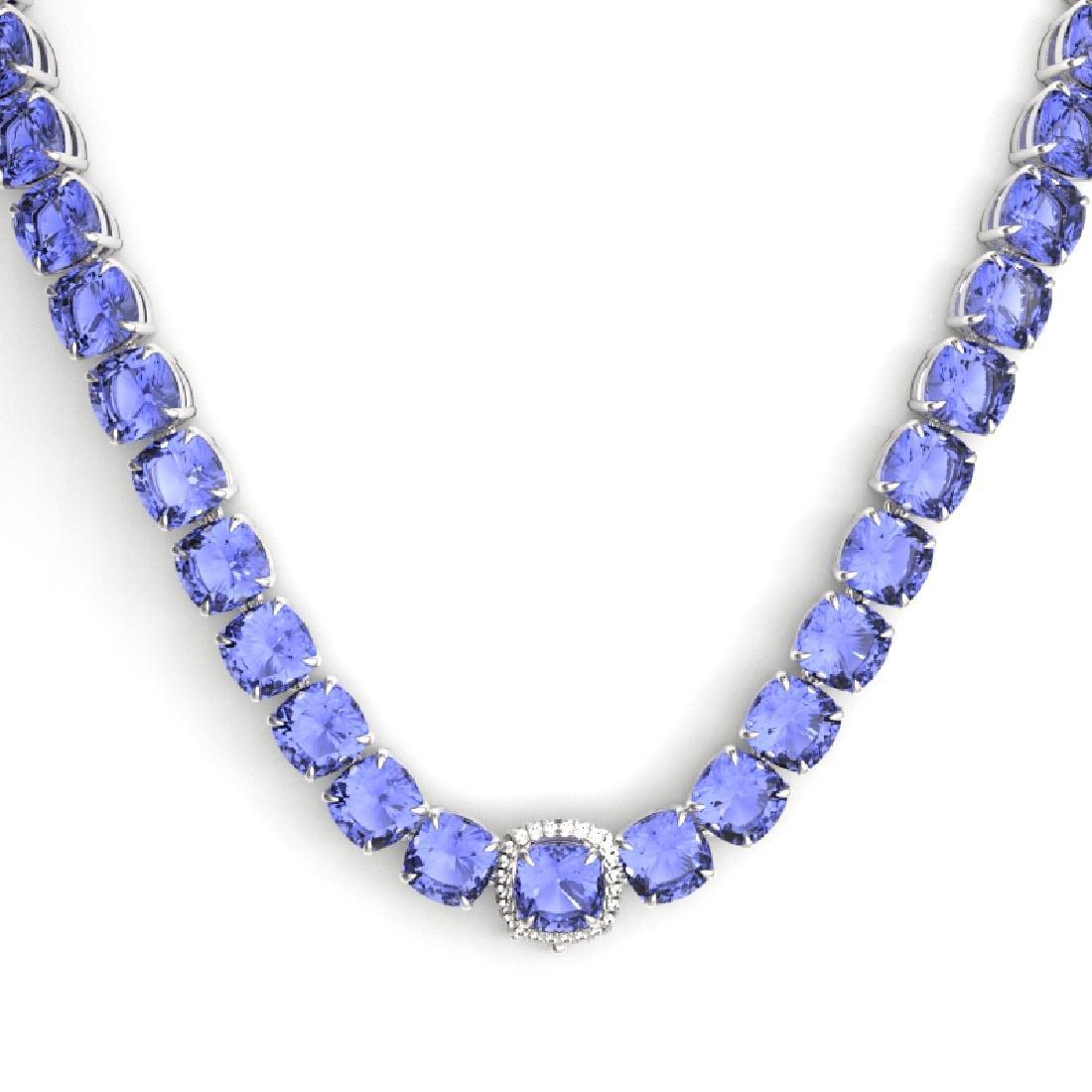 100 CTW Tanzanite & VS/SI Diamond Necklace 14K White - 2