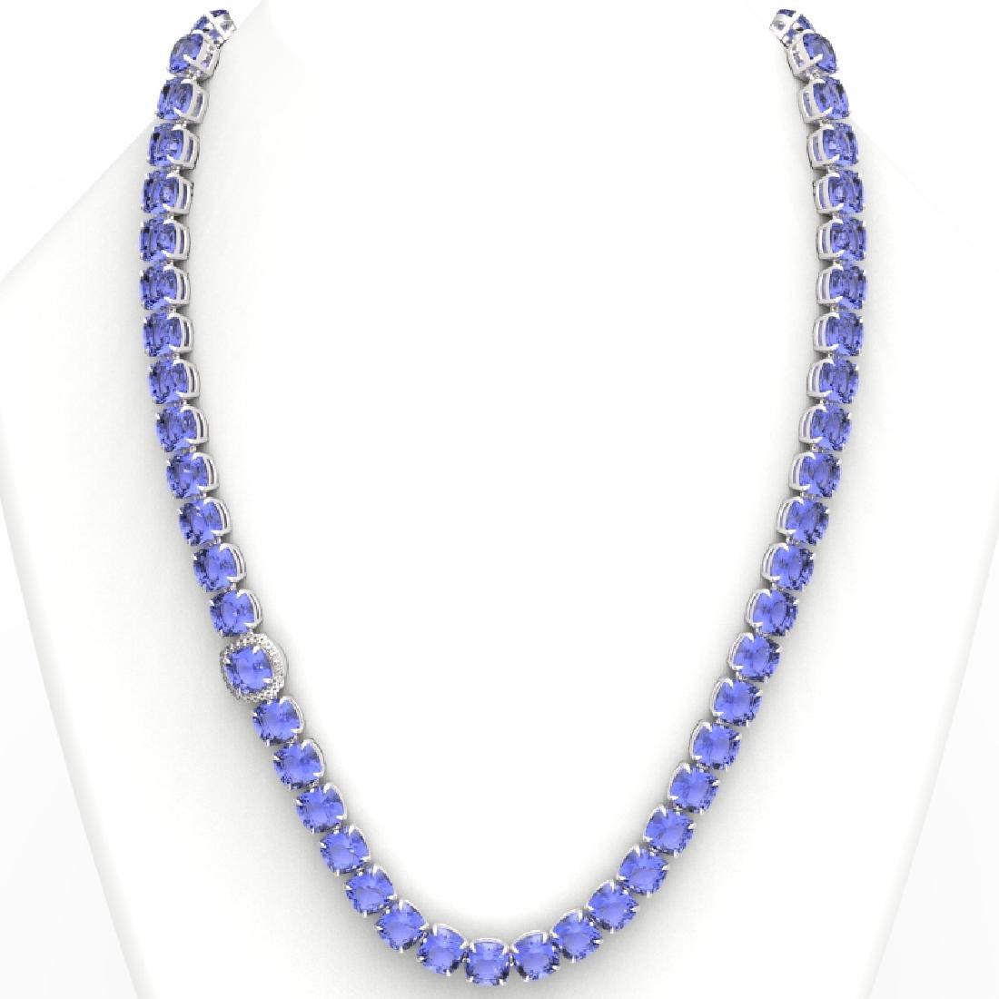 100 CTW Tanzanite & VS/SI Diamond Necklace 14K White - 3