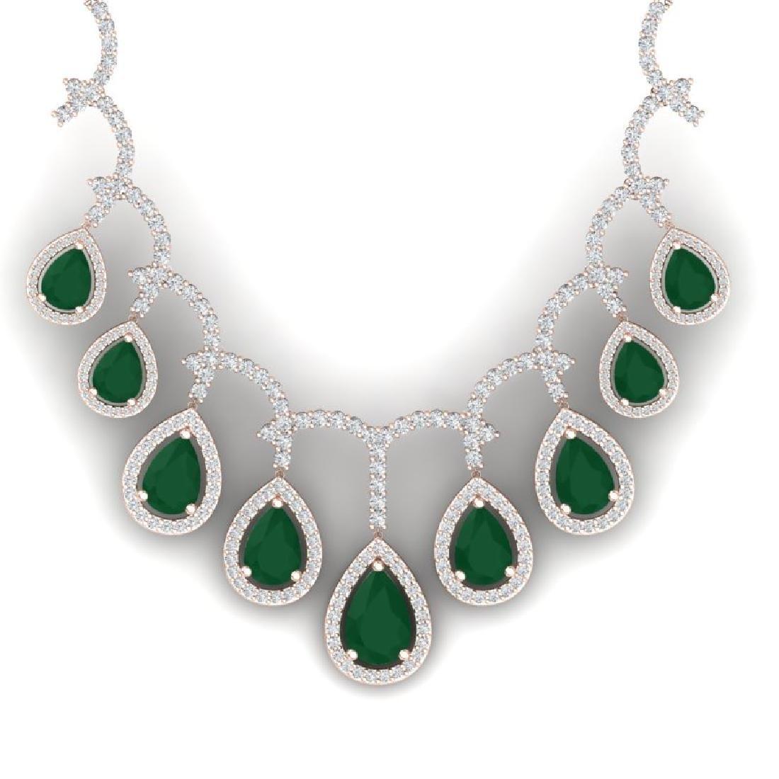 31.5 CTW Royalty Emerald & VS Diamond Necklace 18K Rose