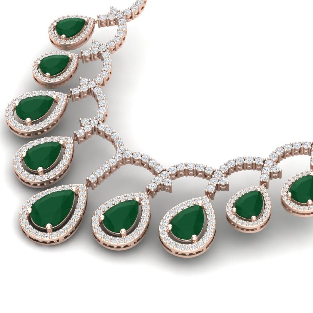 31.5 CTW Royalty Emerald & VS Diamond Necklace 18K Rose - 2