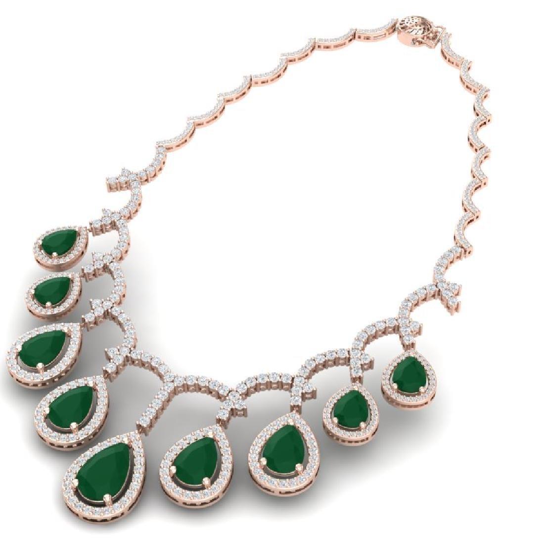31.5 CTW Royalty Emerald & VS Diamond Necklace 18K Rose - 3