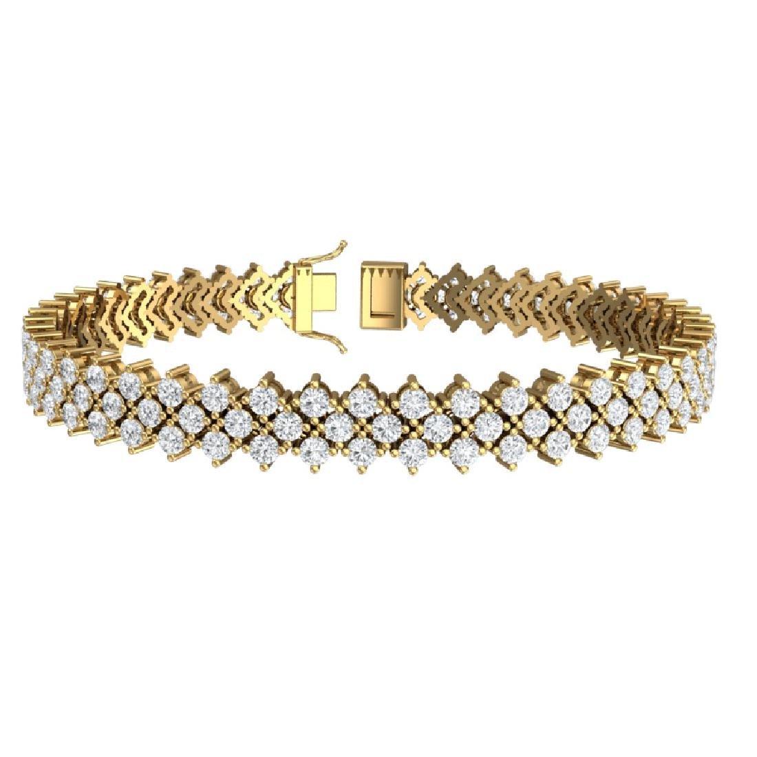 10 CTW Certified SI/I Diamond Bracelet 18K Yellow Gold - 3