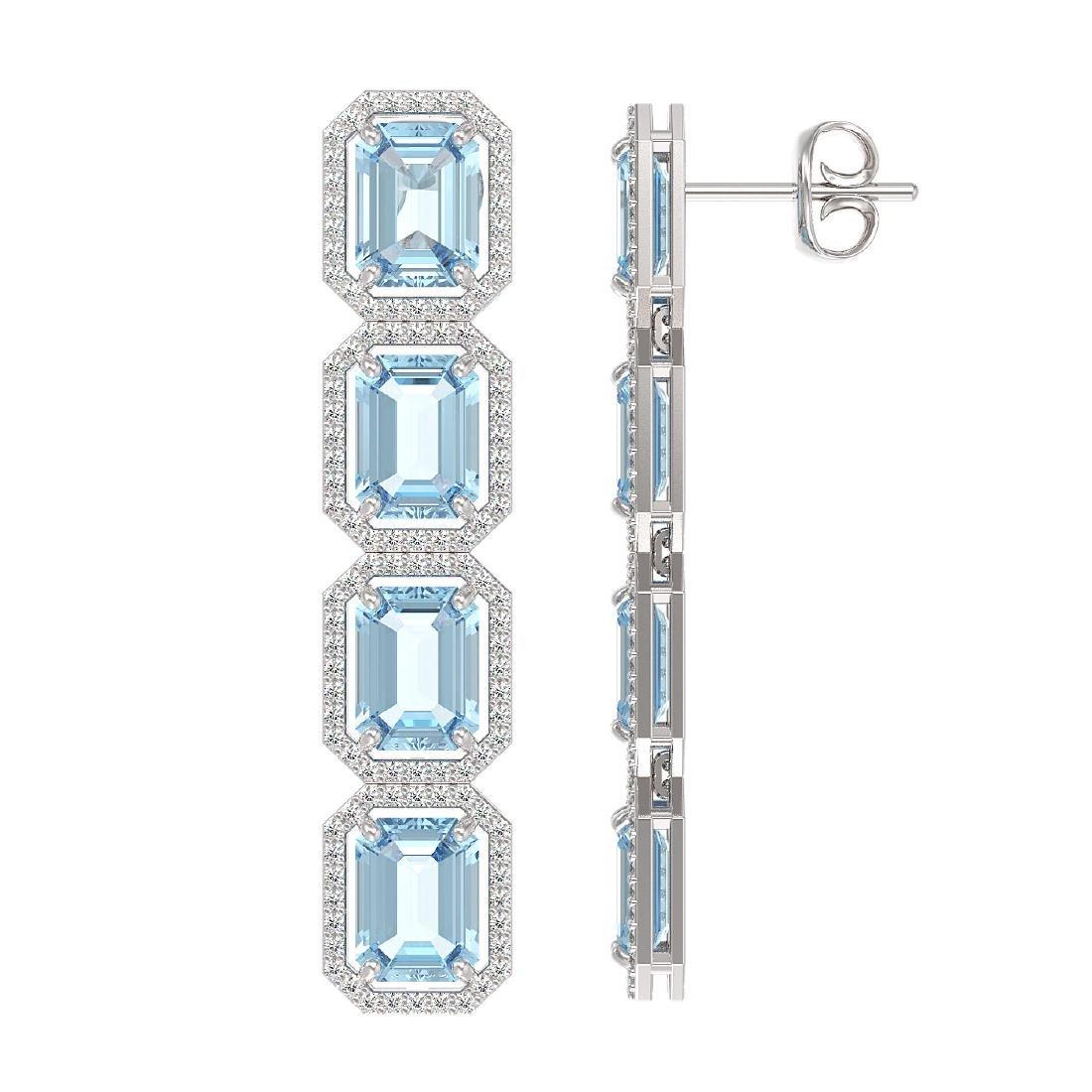 19.49 CTW Aquamarine & Diamond Halo Earrings 10K White - 2