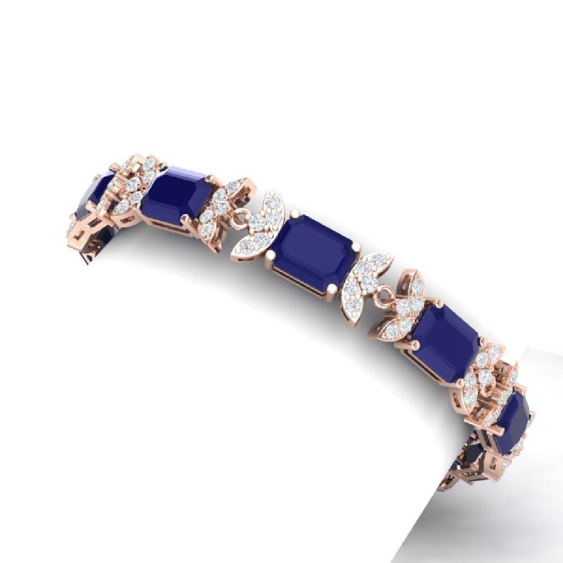 38.13 CTW Royalty Sapphire & VS Diamond Bracelet 18K - 2