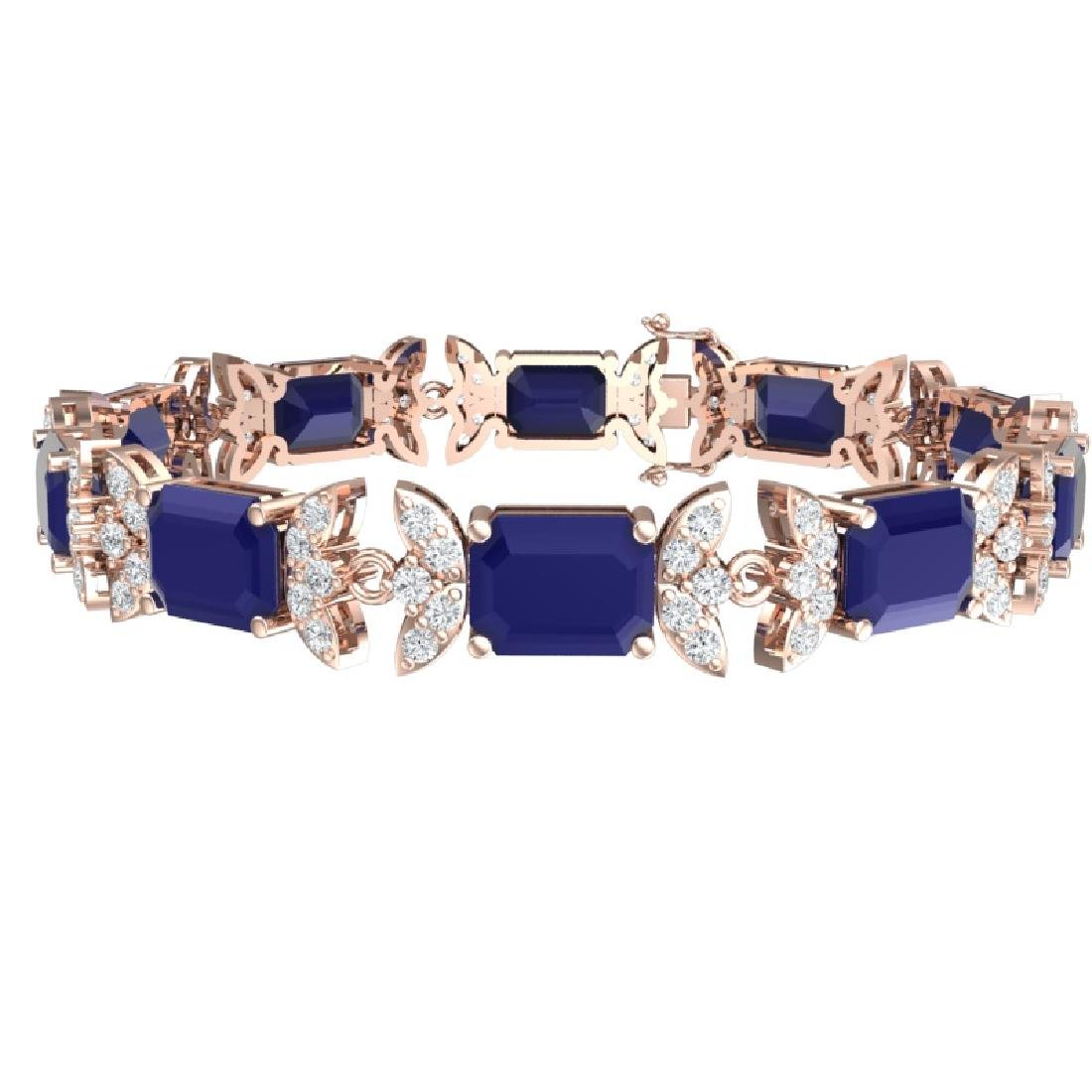 38.13 CTW Royalty Sapphire & VS Diamond Bracelet 18K - 3