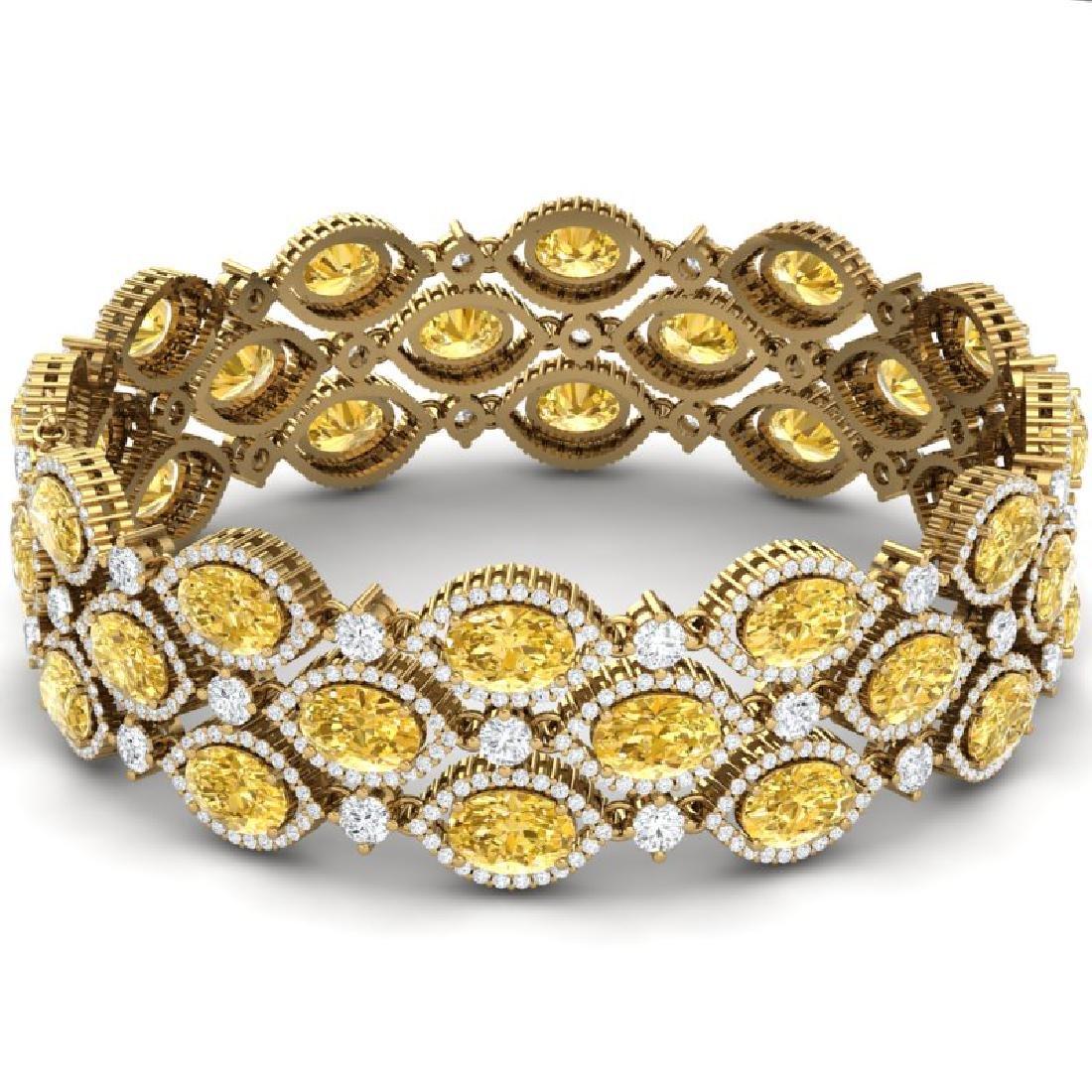 43.84 CTW Royalty Canary Citrine & VS Diamond Bracelet - 3