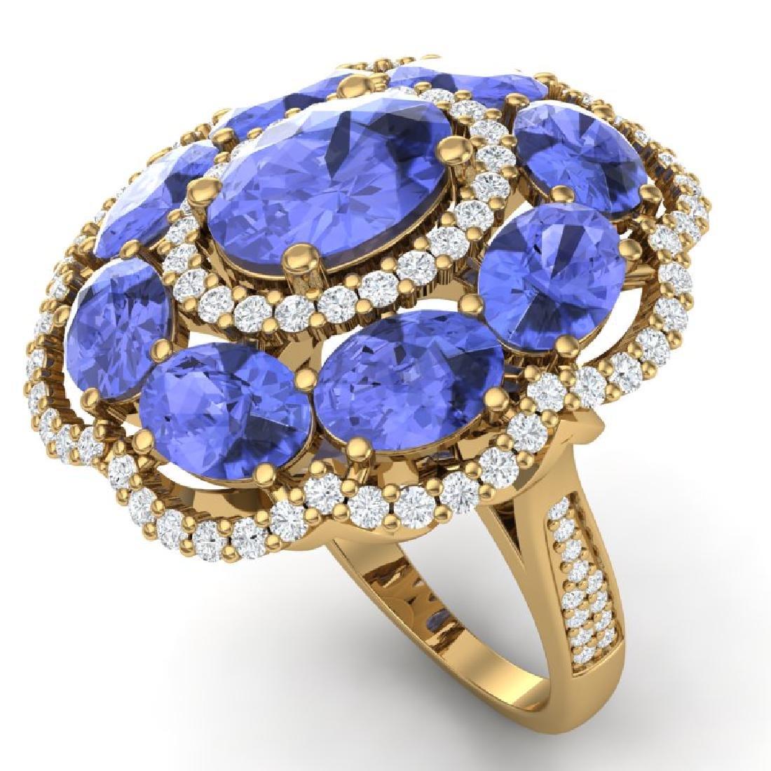 15.24 CTW Royalty Tanzanite & VS Diamond Ring 18K